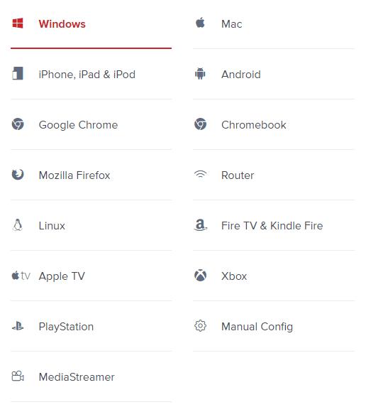 ExpressVPN支持设备